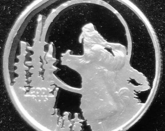 Wolf Howling Hand Cut Coin Jewelry
