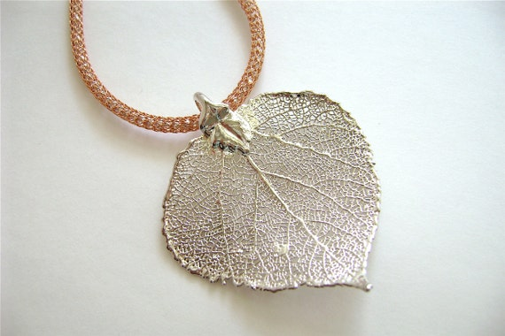 Silver Leaf Necklace, Handmade Jewelry, Sterling Silver, Copper Silver Silk, Heart, Natural, Aspen Leaf, 393