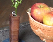 Round  petite wall vase in walnut or cherry