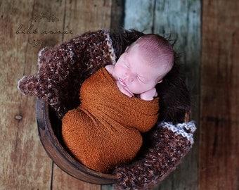 Brown Baby blanket Angel hair  crochet photo prop  bucket  bowl  basket newborn