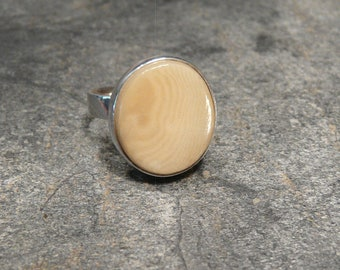 Sterling Silver and Ivory Nut  Ring, Tagua Nut