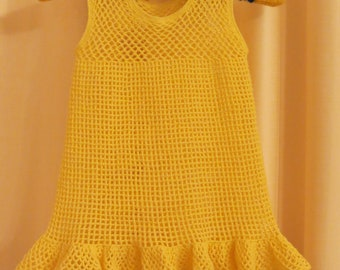 Vintage Handmade Crocheted Yellow Girl's Dress Tunic