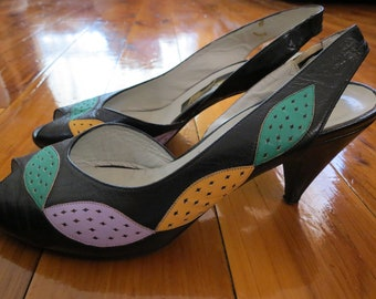 Vintage Made in Italy Leather 70s Colourful Peep Toe Moni Shoes Italian