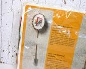 Vintage Monogram Stickpin Metal Mini Creative Circle Stitchery Kit 1985 Unopened Cross Stitch PeachyChicSewing on Etsy