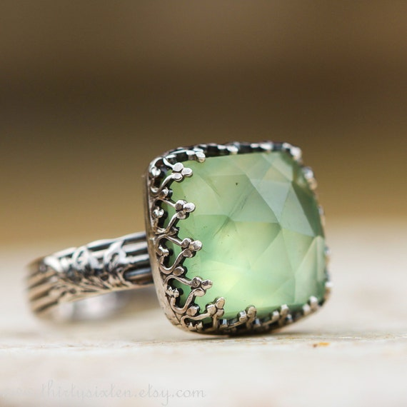 Green Prehnite and Sterling Silver Cocktail Ring