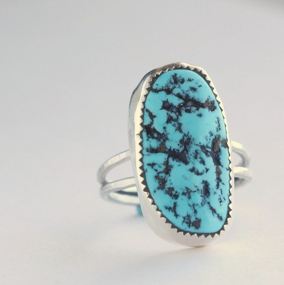 Turquoise and Sterling Silver Cocktail Ring