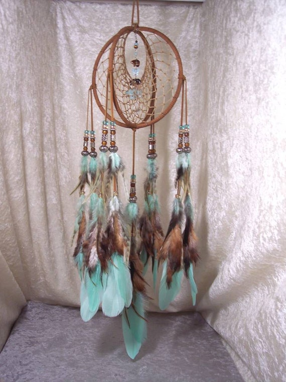 DRAGON WOLF - 7 Inch OOAK Spirit Catcher in Aqua and Cinnamon by Feathered Dreams