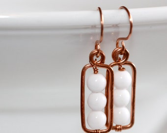 White Glass Earrings - 'Lonely Hour'