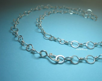 Sterling hand twisted link chain necklace