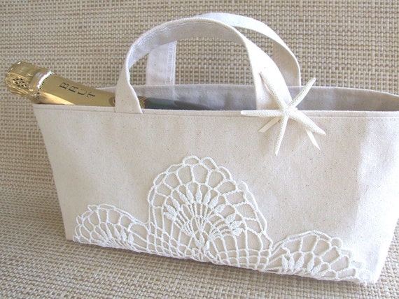 Beach Wedding Basket with vintage crocheted doily