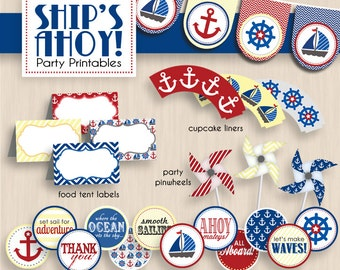 SHIP'S AHOY Nautical Birthday Party Printable Package in Red, Yellow, and Navy Blue- Instant Download
