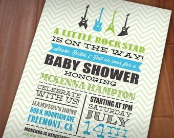 LITTLE ROCK STAR Baby Shower Printable Invitation in Lime Green and Turquoise Blue
