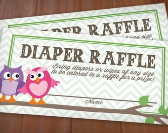 OWL Diaper Raffle Printable Ticket in Purple and Pink- Instant Download