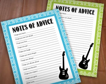 GUITAR ADVICE Cards for Baby Shower in Lime Green and Turquoise Aqua Blue- Instant Printable Download
