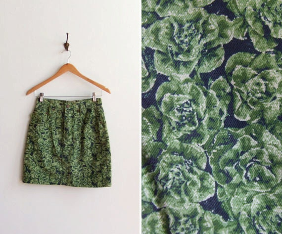 Vintage 1990s ESPRIT cabbage print denim mini skirt