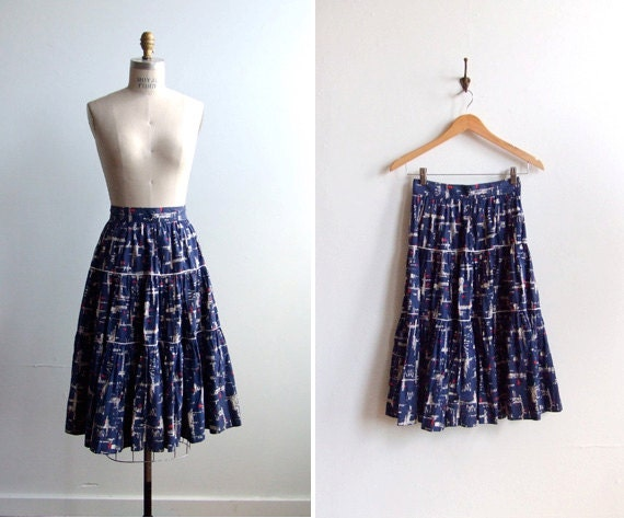 FINAL SALE////vintage 1970s three tier circle skirt with graphic pattern