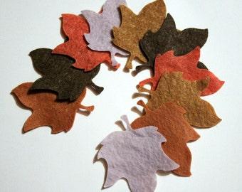 30 Piece Die Cut Felt Appliques- Petit Maple Leaves-Shades of Autumn Colors