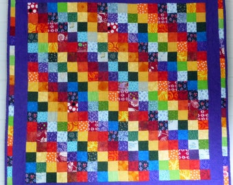 Rainbow stripes quilt, kid's quilt, wall hanging