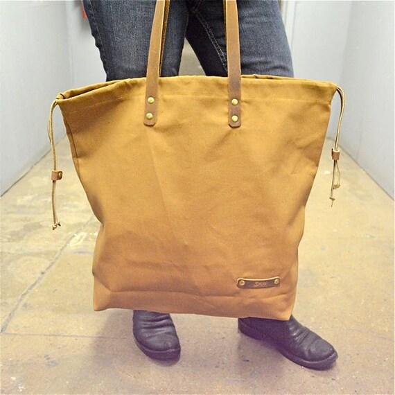PRINCE Canvas Tote Bag, Leather canvas Shoulder Tote Bag