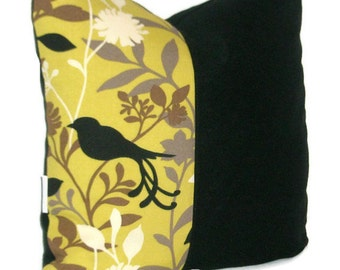 "Bird Sillouette Print Throw Pillow, Cushion Cover, Home Decor Decorative Pillow Cover  18"" X 18"""