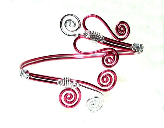 Upper Arm Band, Arm Bracelet/Cuff, Pink Heart and Pink & Silver Spirals, Anodized Aluminum Wire