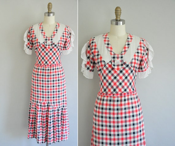 vintage 1930s dress / 30s dress / Lina Blues