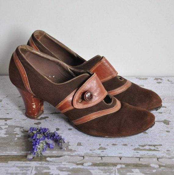 s a l e... vintage 1940s leather suede Jitterbug dance shoes