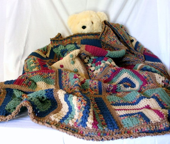 Crocheted Granny Square Afghan Lap Throw Brown Beige Red Green