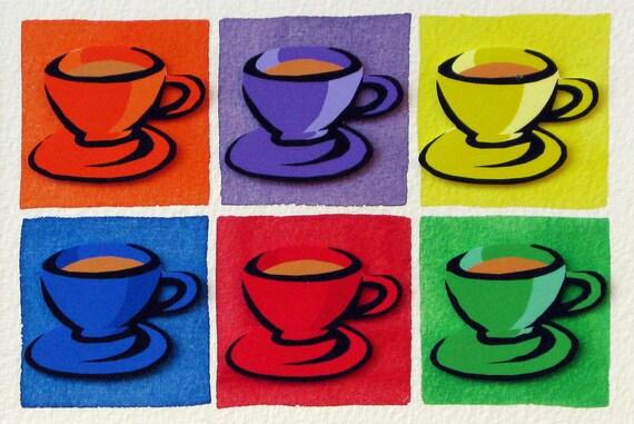 Coffee Rainbow - original 3D collage - teacups