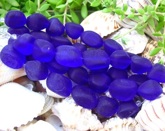 """4"""" / 8"""" Royal Blue PETITE 13mm 15mm sea beach glass bead frosted Freeform nugget pebble small"""