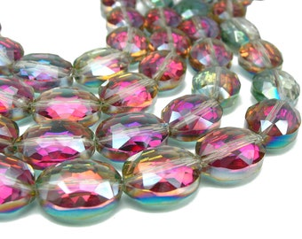 "7"" 12mm 16mm 20mm 24mm Sahara Green AB designer glass oval Beads faceted Half coat semi transparent - PICK SIZE"