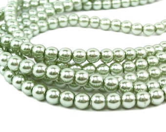 """15.5"""" 4mm / 6mm SAGE green Round Glass Pearls small"""