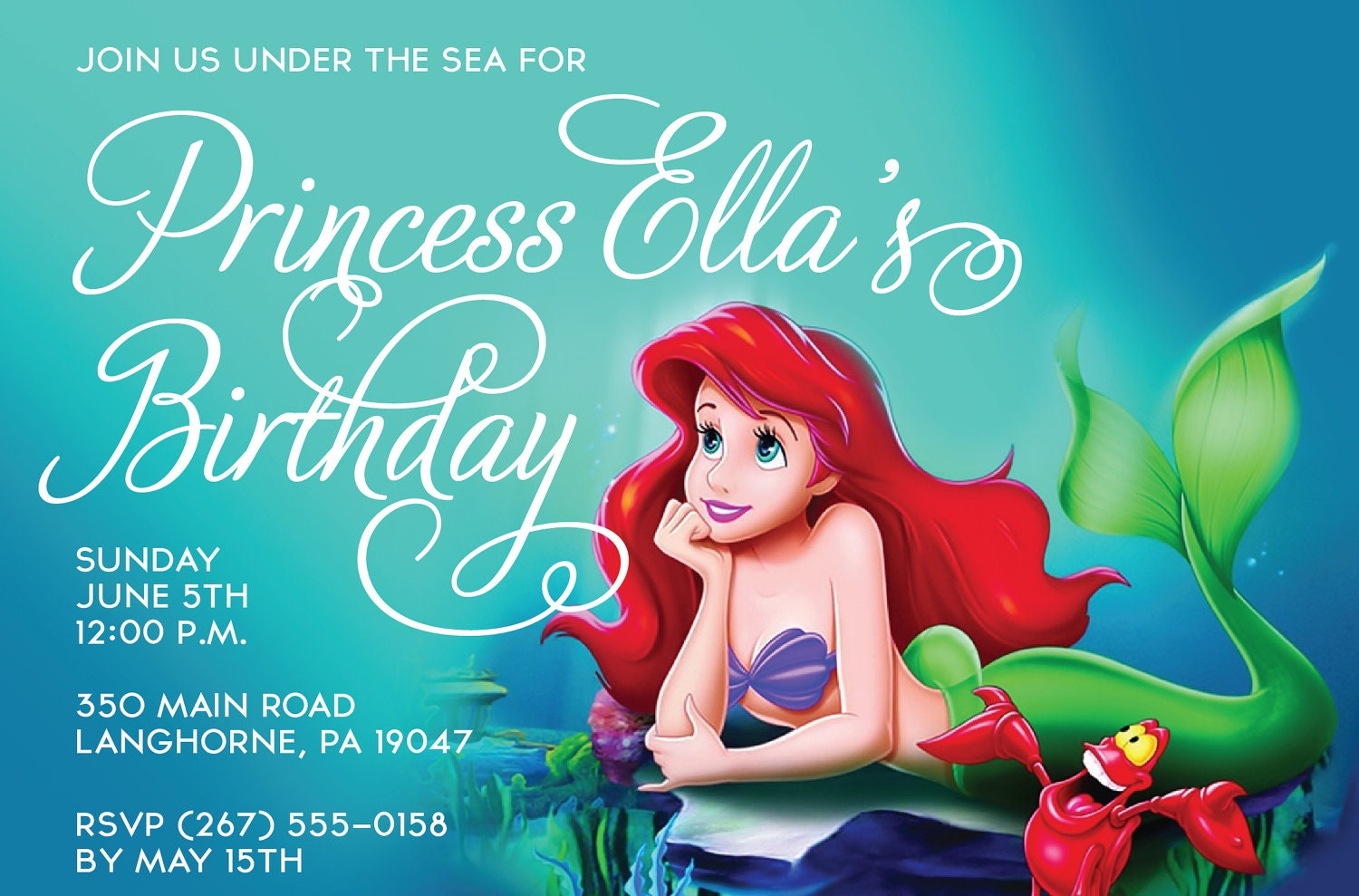 Little Mermaid Party Invitation Wording for great invitations example