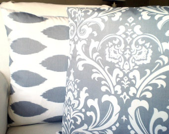 Gray Pillow Covers Decorative Throw Pillow Cushion Covers Grey White Damask Oval Ikat Chipper Couch Bed Sofa Pillow Set of Two Various Sizes