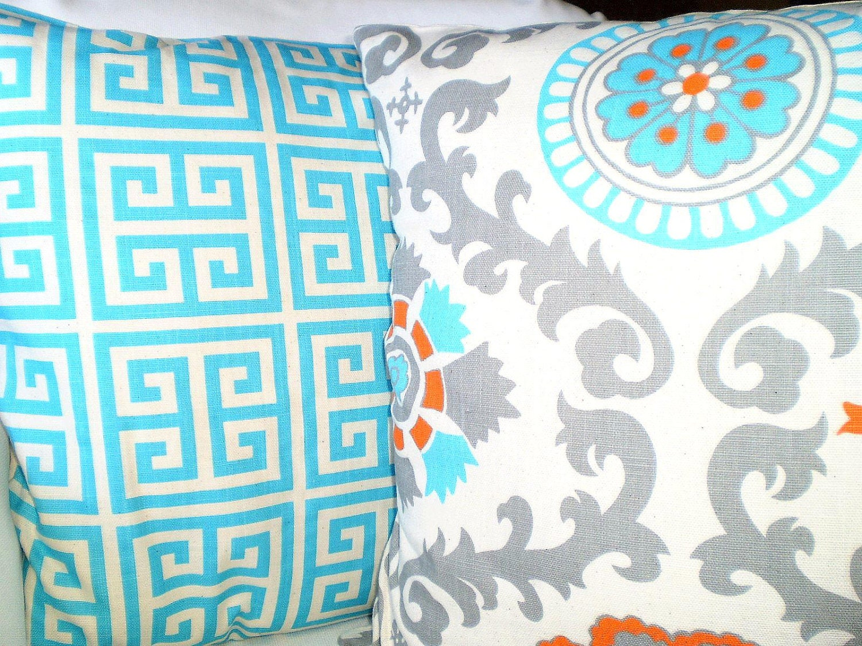Aqua Gray Orange Pillow Covers Decorative Throw Pillow