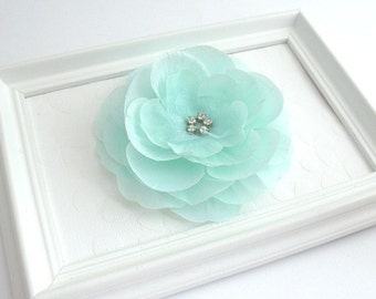 Mint Green Rhinestone Flower Hair Clip, Bridal Accessory, Flower Girl, Special Occasion Hair Flower Clip, Prom Flower Hair Clip, Bridesmaid