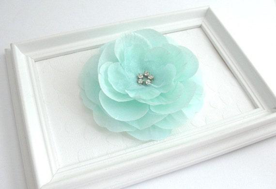 Mint Green Rhinestone Flower Hair Clip, Bridal Accessory, Flower Girl, Special Occasion Hair Flower Clip, Prom Flower Hair Clip, Bridesmaid