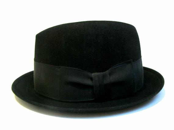 Mens Vintage Hat XXXX Beaver Hand Felted Edge Hat 1960s Stingy Brim Lounge Hat size 6 7/8 Small