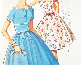 Misses' Fit and Flare Dress and Jacket - SZ 12/Bust 32 - Vintage 60s Dress Pattern McCall's 6320