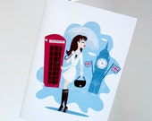 Travel Girl London Note Card
