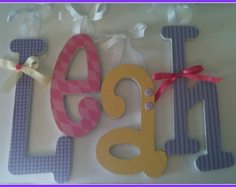 Baby Girl, Nursery Wooden Letters,  Lavender, Yellow and Pink, Custom Wood, Letter Decor, Name Hanging Sign,  any size or font in this shop