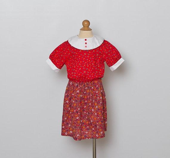 vintage girls dress/ red floral/ 1980s