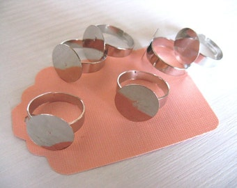 Adjustable Ring Base Blank - silver tone - 5 pcs