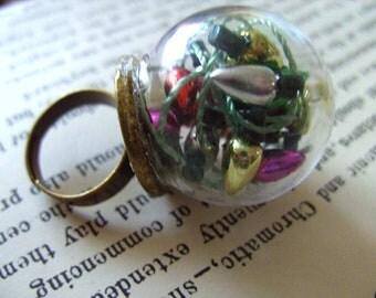 Festive,Glass Dome, globe, RING, Xmas lights, fairy lights, Festive, miniature, by NewellsJewels on etsy