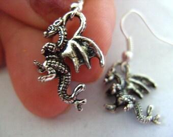 Silver,  DRAGON, earrings,dragon earrings, small dragon earrings, silver dragon earrings, 3d, by NewellsJewels on etsy