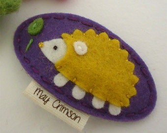 Felt hair clip -No slip -Wool felt -Harley the hedgehog -violet