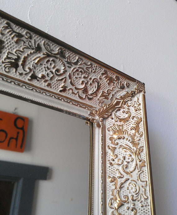 Vintage Framed Mirror in White Washed Brass 16 by 13 inches