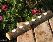 20 Inch 6 Candle Rustic Log Holder Rustic Wedding Cabin Decor Table Piece Slab Ash Wood