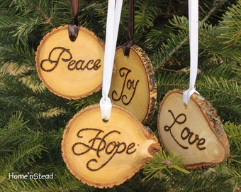 Rustic Country Christmas Ornament Set of 4 Hope, Love, Peace, Joy Primitive Holiday Home Decor Tree