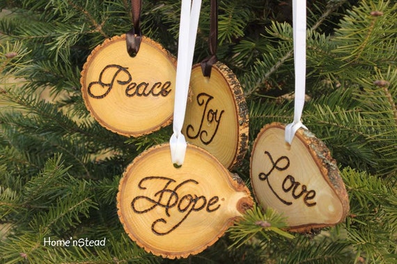 Rustic Country Christmas Ornament Set of 4 Hope Love Peace